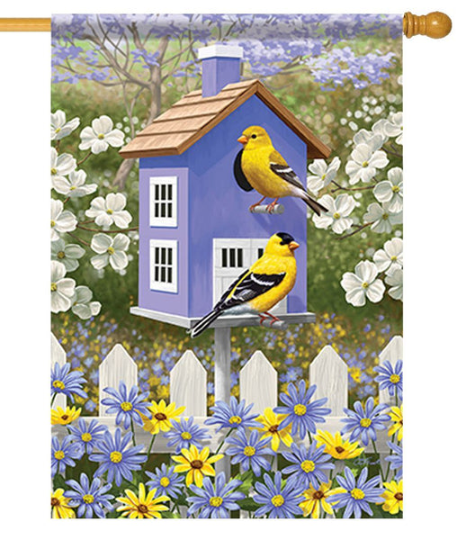 Goldfinch Birdhouse and Daisies House Flag