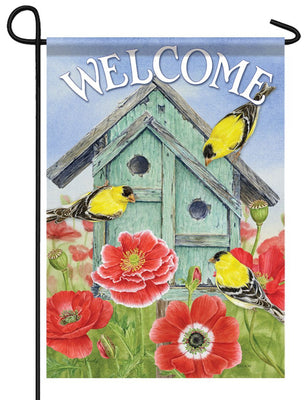 Goldfinch Gathering Garden Flag