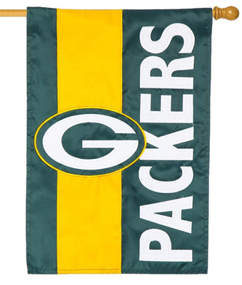 Green Bay Packers Embellished Applique House Flag