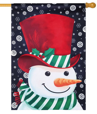 Green and White Stripes Snowman Suede Reflections House Flag