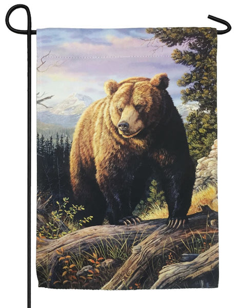 Grizzly Bear Suede Reflections Garden Flag - All Decorative Flags/Themes/Animal Flags/Wildlife - Other Animal Flags - I AmEricas Flags
