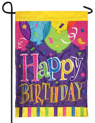 Happy Birthday Balloons Double Applique Garden Flag