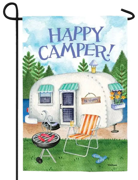 Happy Camper Suede Reflections Garden Flag