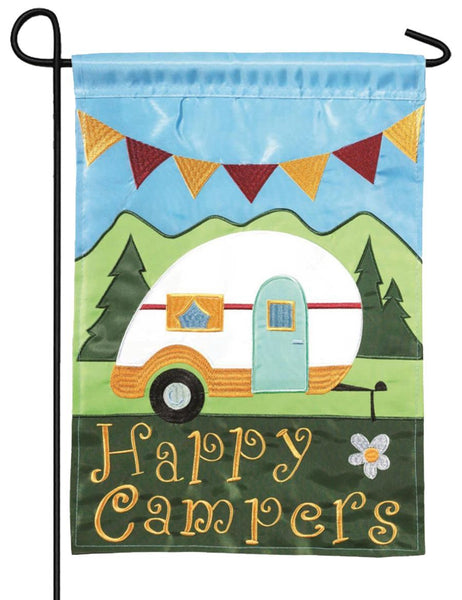 Happy Campers Double Applique Garden Flag