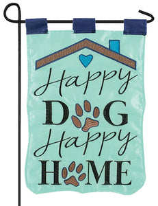 Happy Dog Happy Home Double Applique Garden Flag