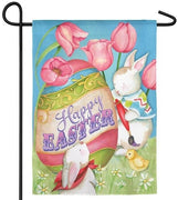 Happy Easter Egg and Tulips Suede Reflections Garden Flag