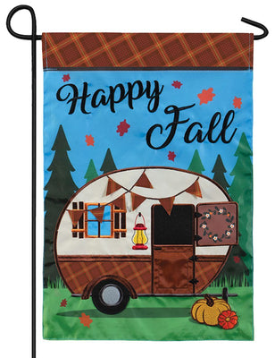 Happy Fall Camper Double Applique Garden Flag