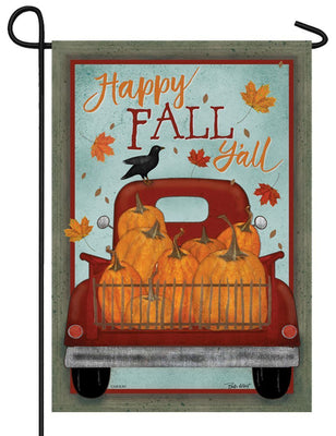 Happy Fall Y'all Pickup Truck Glitter Garden Flag