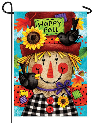 Happy Gingham Scarcrow Garden Flag