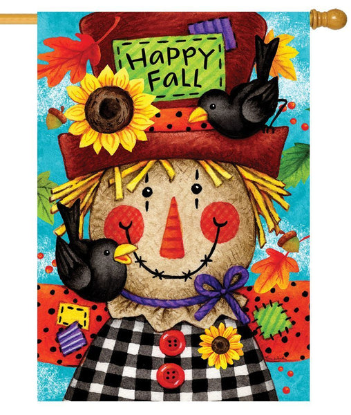 Happy Gingham Scarecrow House Flag - All Decorative Flags/Seasons/Fall Flags - I AmEricas Flags