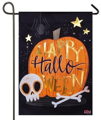Happy Halloween Skull Embellished Suede Garden Flag