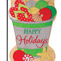 Happy Holidays Beach Pail Double Applique Garden Flag