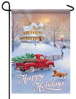 Happy Holidays Red Truck Garden Flag