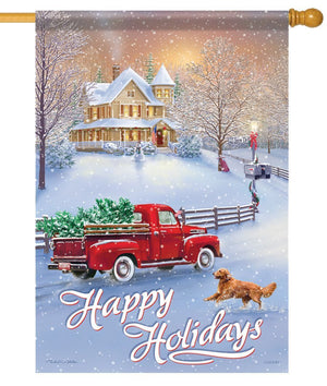 Happy Holidays Red Truck House Flag