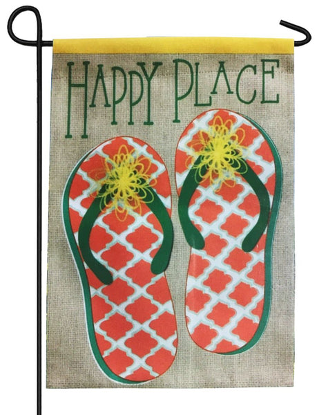 Happy Place Flip Flops Suede Reflections Garden Flag