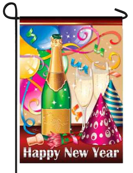 Happy New Year Champagne Party Garden Flag