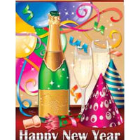 Happy New Year Champagne Party House Flag