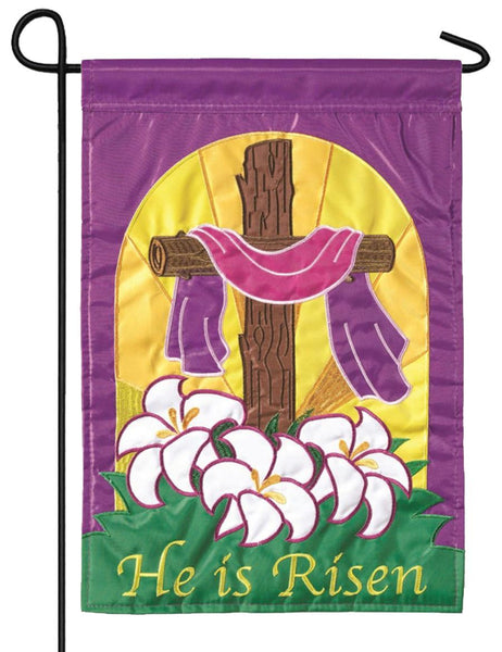 He is Risen Cross and Lilies Double Applique Garden Flag