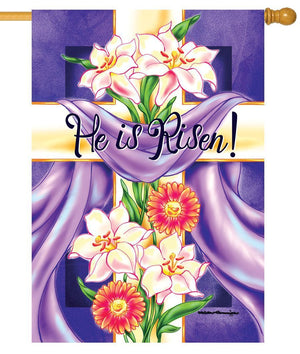 He is Risen Floral Cross House Flag