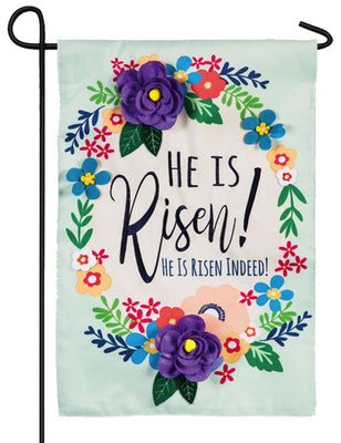 He Is Risen Floral Wreath Applique Garden Flag