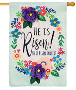 He Is Risen Floral Wreath Applique House Flag