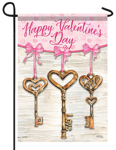 Heart Shaped Brass Keys Garden Flag