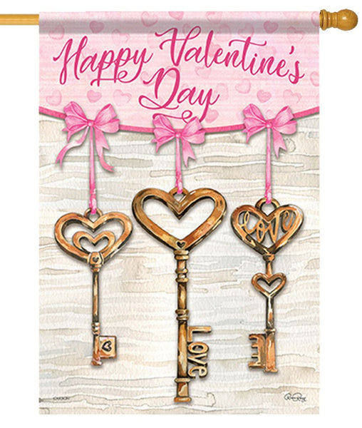 Heart Shaped Brass Keys House Flag