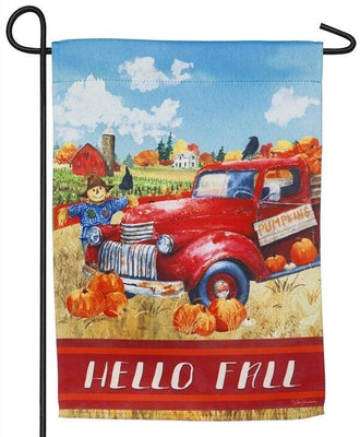 Hello Fall Red Truck Suede Reflections Garden Flag