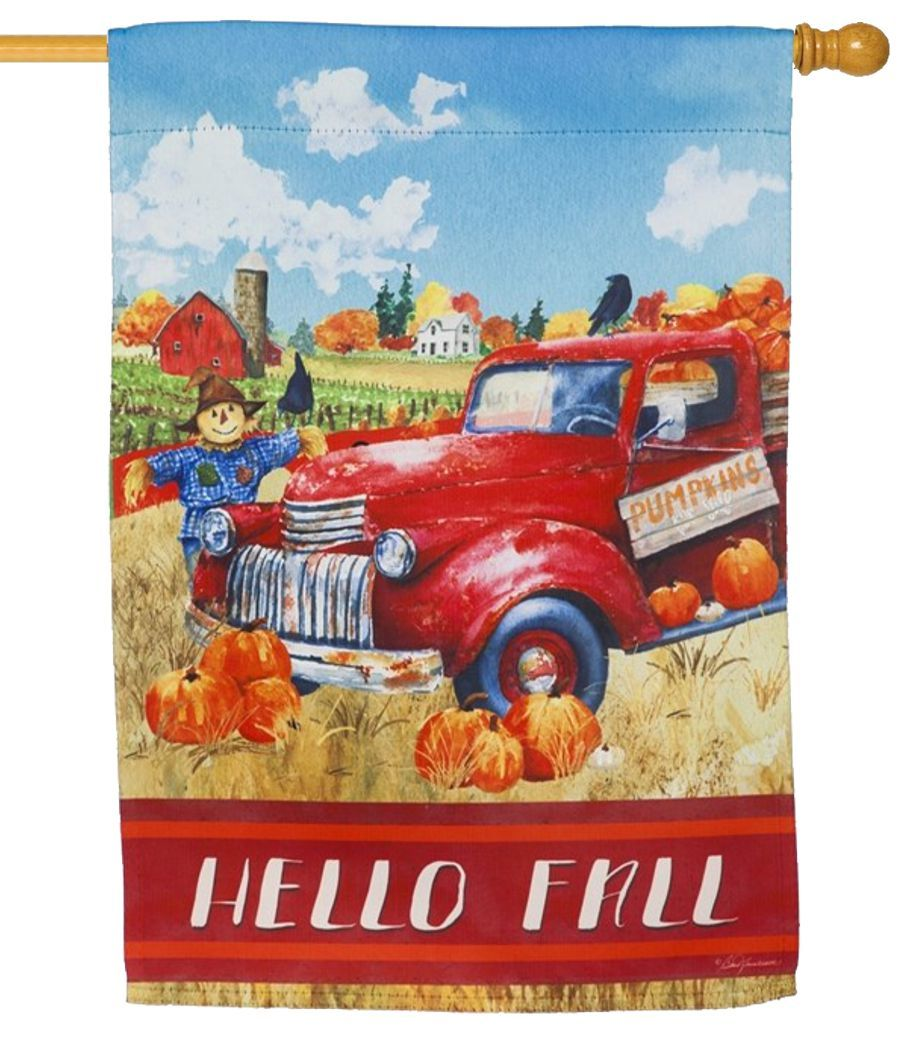 Hello Fall Red Truck Suede Reflections House Flag