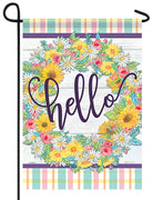 Hello Floral Wreath Glitter Garden Flag