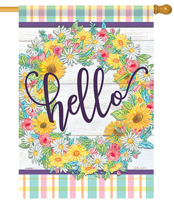 Hello Floral Wreath House Flag