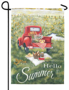 Hello Summer Red Pickup Truck Garden Flag