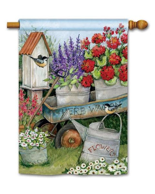 Herb Garden Wagon House Flag