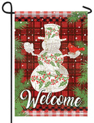 Holly Berry Snowman on Plaid Garden Flag