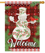 Holly Berry Snowman on Plaid House Flag