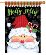 Holly Jolly Santa House Flag