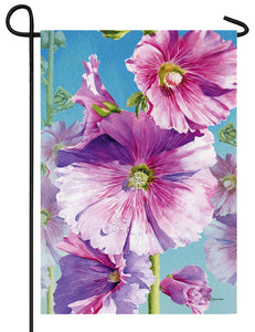 Hollyhocks Suede Reflections Garden Flag