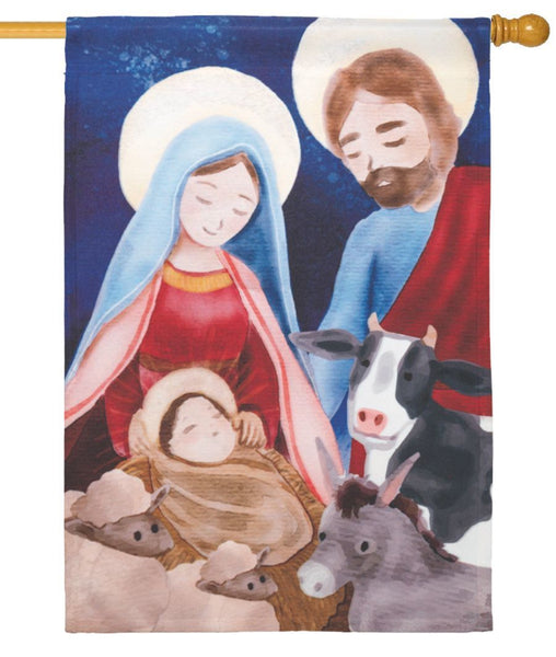 Holy Family with Animals House Flag - All Decorative Flags/Holidays/Christmas Flags - I AmEricas Flags