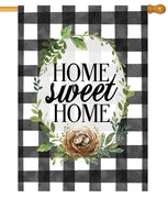 Home Sweet Home Gingham House Flag