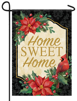 Home Sweet Home Poinsettia Cardinal Garden Flag
