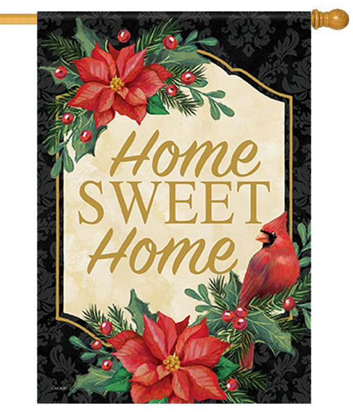 Home Sweet Home Poinsettia Cardinal House Flag