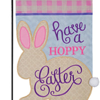 Hoppy Easter Double Applique Garden Flag