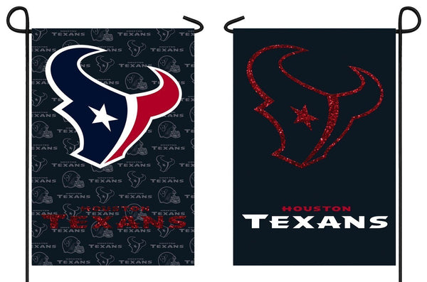 Houston Texans 2 Sided Glitter Embellished Garden Flag