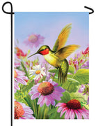 Hummingbird and Coneflowers Garden Flag