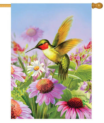 Hummingbird and Coneflowers House Flag