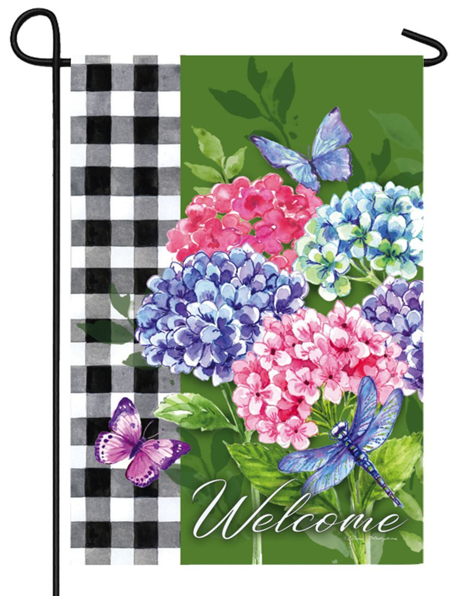 Hydrangea Checks Suede Reflections Garden Flag