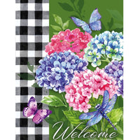Hydrangea Checks Suede Reflections House Flag