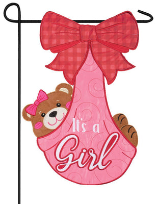 It's A Girl Cub Double Applique Garden Flag