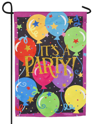 It's A Party Glitter Suede Garden Flag