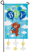 It's a Boy Teddy Bear Double Applique Garden Flag